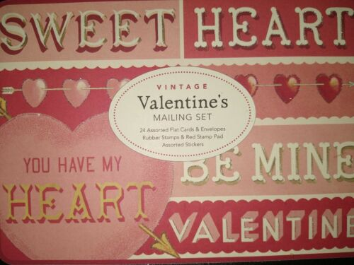 Cavallini Co Vintage Valentine Mailing Set Cards Stickers Stamps Pad Tin NIB  - $23.99