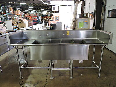 Commercial Stainless Steel 4-compartment Sink W 2 Drainboards And Backsplash