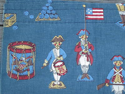 VALANCE SET of 3 COLONIAL AMERICA PRINT Curtain DRUM CANNON FLAG MILITARY HORSE