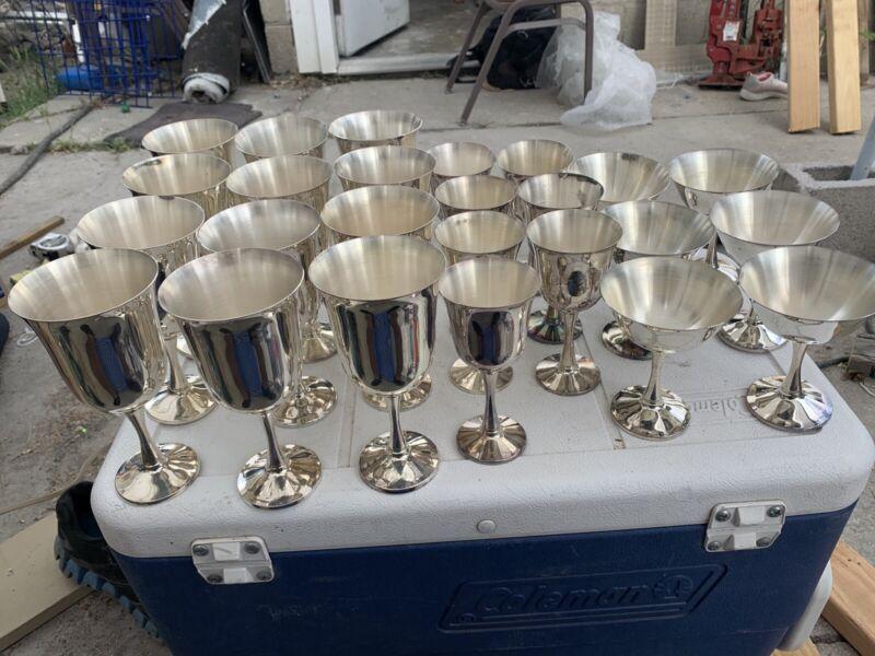 Set Of 25 Vintage Salem Portugal Silver plate Goblets