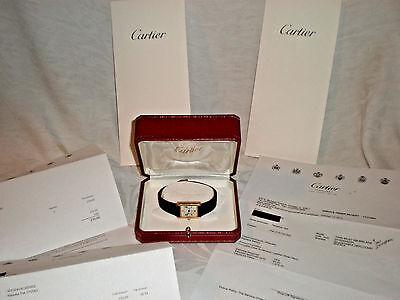 "Must de Cartier Tank argent 925 Ladies battery Watch Black Leather Band  -7.25"""