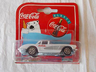 1997-1958 Coca Cola Corvette Die Cast Car Radio Grill-Majorette-White-200 series