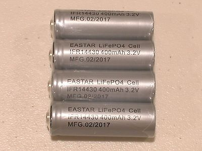 4 pc EASTAR IFR 14430 3.2v LiFePO4 RECHARGEABLE BATTERY 400mAh solar lights