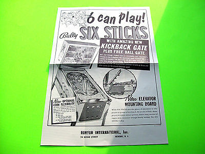 Bally SIX STICKS Original 1966 Flipper Game Pinball Machine Promo Sales Flyer