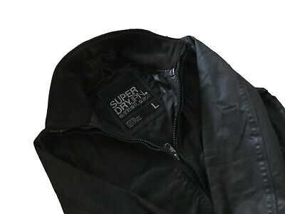 Mens Premium SUPERDRY MOODY BOMBER JACKET Casual Street Coat Cotton Top Black L
