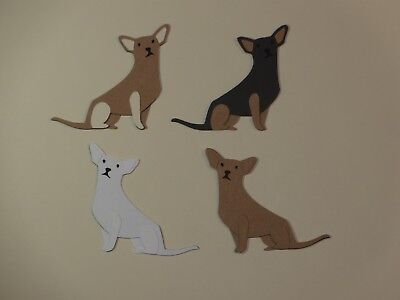 """4 Chihuahua dogs 2"""" 4 different colors scrapbooking die cuts"""
