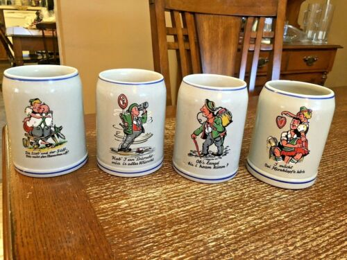 4 Vintage Made In Germany Ceramic Beer Mugs Steins 0.5 Liter
