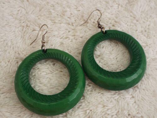 Green Acrylic Hoop Pierced Earrings (A58)