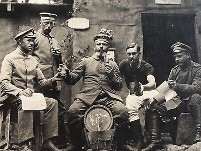 1917 RPPC Real Photo Postcard WWI RUSSIAN IMPERIAL Army Soldiers Drinking Beer