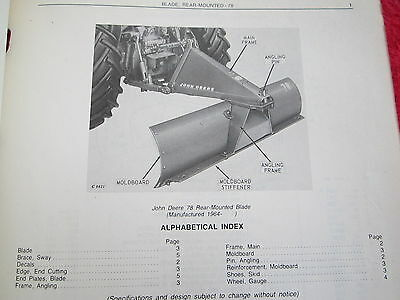 1975 Jd John Deere 78 Tractor Rear Mounted Blade Parts Catalog Manual