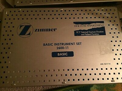 Zimmer Surgical Orthopedic Basic Instrument 2600-11 Case Set Used.