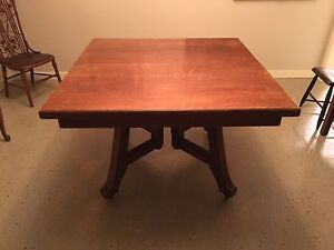 Antique Oak Dining Table Arts & Crafts Mission Craftsman style
