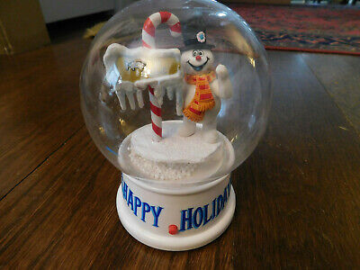Vtg Frosty the Snowman Gemmy Blowing Snow Globe Music Musical Christmas Songs