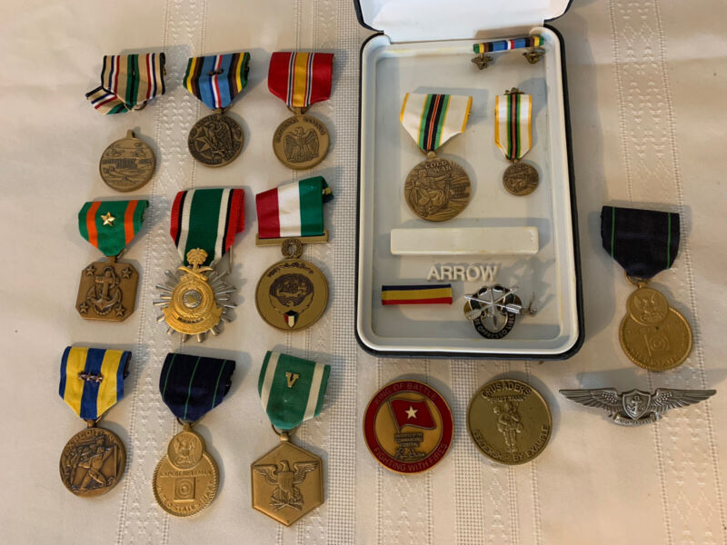 Lot of Military Medals Pins from Estate Cold War Iraq ++