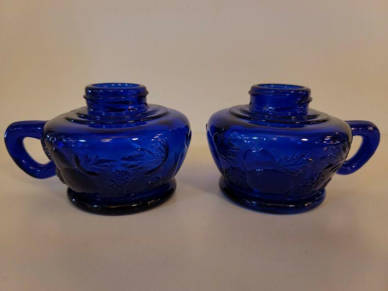 Vintage Cobalt Blue Style Embossed Glass Kerosene Lamp Bases Pair