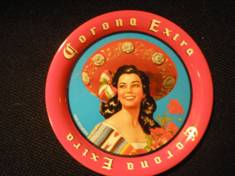 CORONA EXTRA BEER LADY WITH SOMBRERO SMALL TIP TRAY - NEW