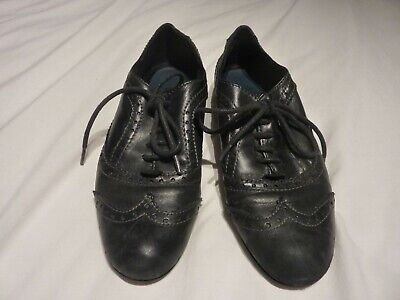 MARCO TOZZI ladies black LEATHER shoes/brogues Size 7/7.5 USED GOOD CONDITION
