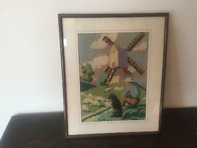 Framed Behind Glass Vintage Wool Tapestry, Picture