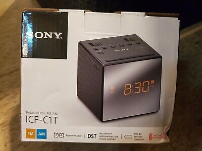 Sony ICF-C1T Desktop Alarm Clock AM FM Radio Black Automatic Set UP NEW With Box