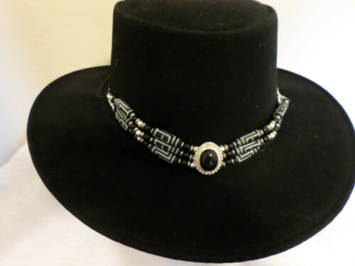 BLACK & WHITE BONE  BEADED GLASS & METAL BEADS HATBAND OR CHOKER FREE SHIP USA