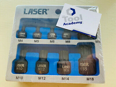 Laser Tools 6725 Low Profile Short Impact Spline Socket Bit Set M4 - M14