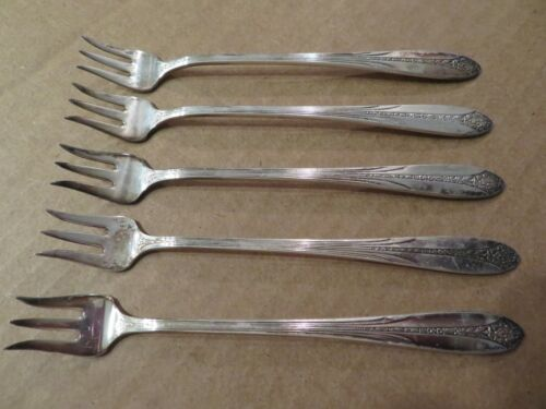 Vintage Princess Royal 1930 National Silver Co. A1 Silver Plate Oyster Fork Lot