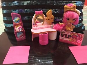 Doll , makeup table and 3 Shopkins