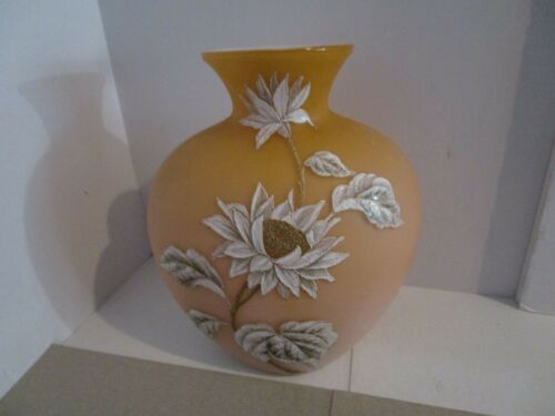 "7.5"" Antique Thomas Webb? Cased Glass Peachblow Vase w/Handpainted Design"