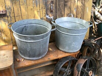 Pair of  Industrial Vintage Steel Tubs Herb Garden