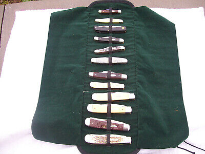 12 Case xx USA Knife Collection Whittler Trapper Stockman Bone with Knife Roll