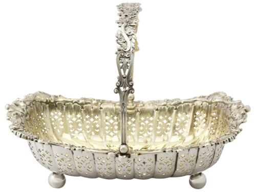 Antique Victorian Sterling Silver Basket By James Dixon & Son 1897