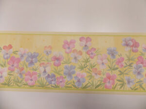 Bright yellow pink blue meadow flower floral wallpaper for Bright pink wallpaper uk