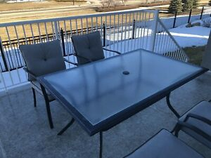 Blue bay rectangular Patio table and Cushioned Patio chair