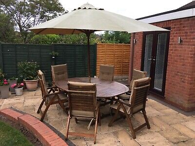 8 Piece Wooden Garden Furniture Set (6 seats with cushions & parasol):  Used