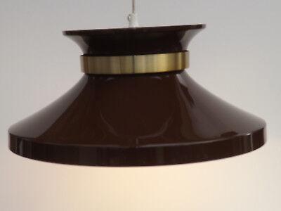 Vintage 60s/70s  Scandinavian UFO Brown Enamel Style Pendant Ceiling Light