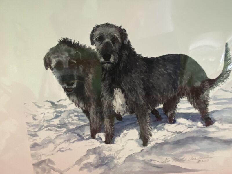 Irish Wolfhound Grey Pair In Snow Ltd Ed By Van Loan 11x14