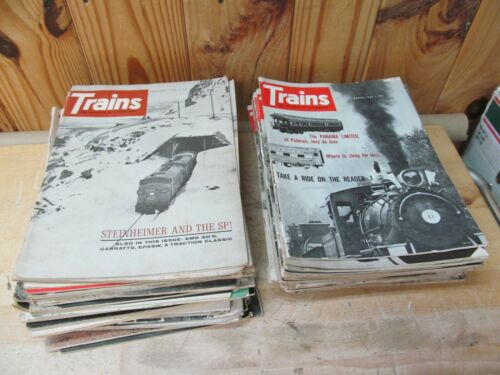 Lot of 58 Vintage Trains Magazines for Railroad Enthusiasts Mostly 1960s