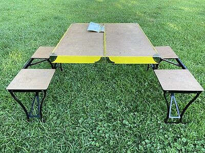 Royal Blue Picnic Table Portable Folding Table with Seats, West Virginia Mountaineers