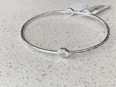 NEW IPPOLITA Rock Candy Clear Quartz 2-stone Sterling Silver Bangle Bracelet