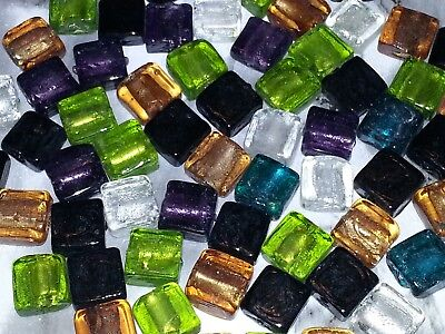 (Silver Foil Mixed Color Lampwork Glass Beads Square Spacer Loose Beads 10PC New)