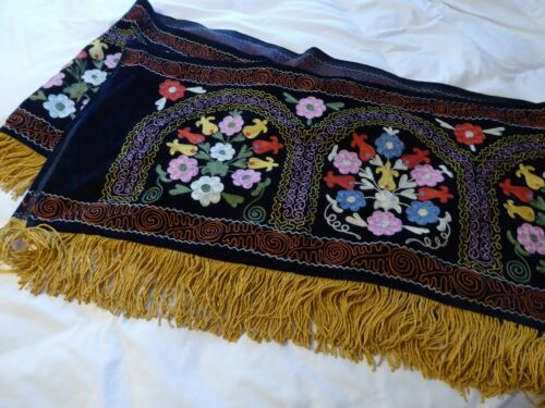 Very large boho black velvet fringed  embroidered VTG hanging
