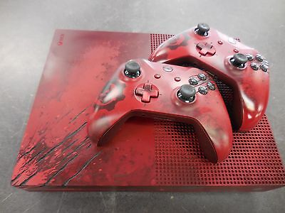 Xbox One S Gears Of War 4 2Tb Crimson Red Console W   Watch Dogs   Call Of Duty