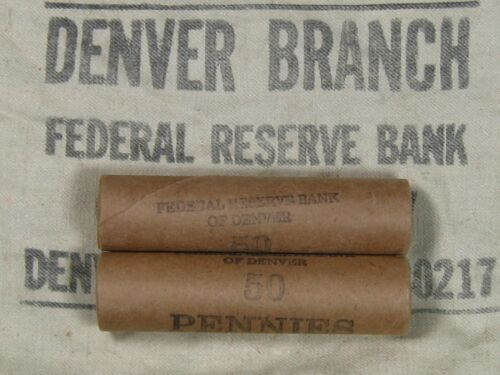 (ONE) FRB Denver Lincoln Wheat Cent Penny Roll Old US Coins 1909-1958 P D S