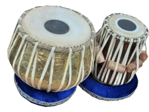 TABLA DRUM SET~BRASS BAYAN~WOODEN DAYAN~DESIGNER~INDIAN HANDMADE~WITH HAMMER,BAG