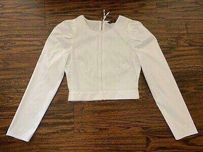 Zara White Puff Sleeve Back Zip-Up Top Blouse XS