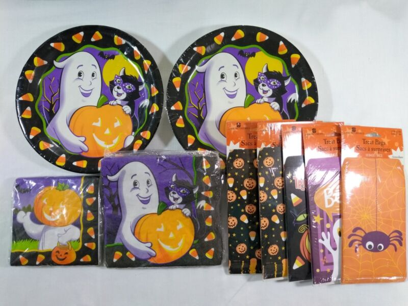 Vintage Halloween Napkins Paper Plates Treat Bag Stickers Lot American Greetings
