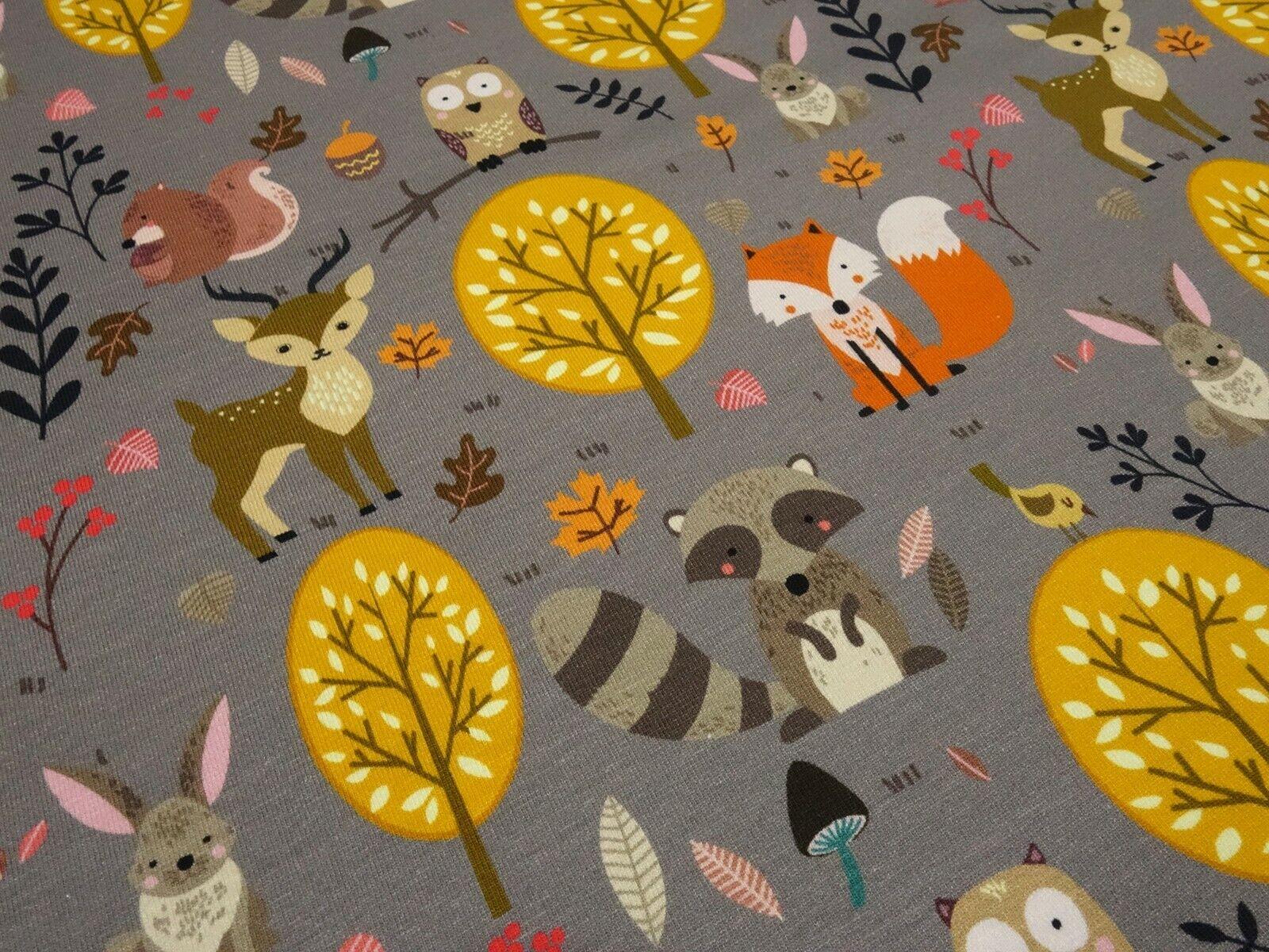Stoff Baumwolle Jersey Waldtiere Hirsche Füchse braun orange bunt Kinderstoff