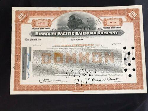 Vintage 1955 Missouri Pacific Railroad Company Certificate