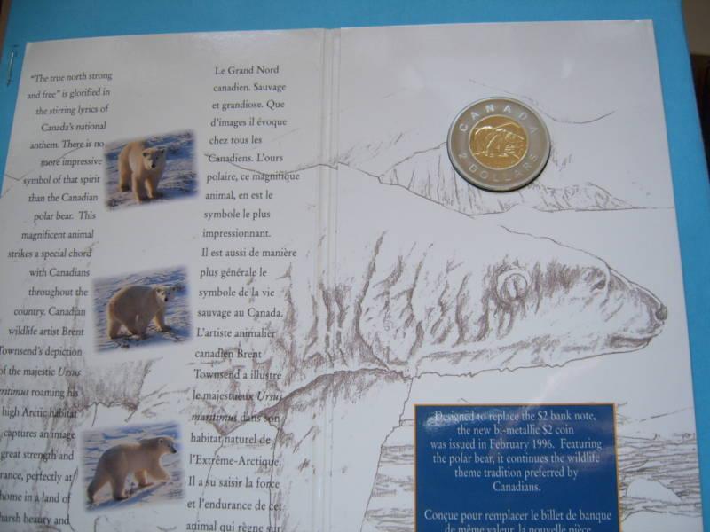 1996 POLAR BEAR CANADA $2 COIN SEALED ON CARD SHARP