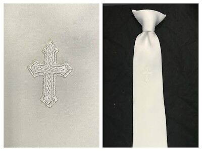 New Boys first communion Satin tie with cross embroidery Clip 14 - White Communion Tie